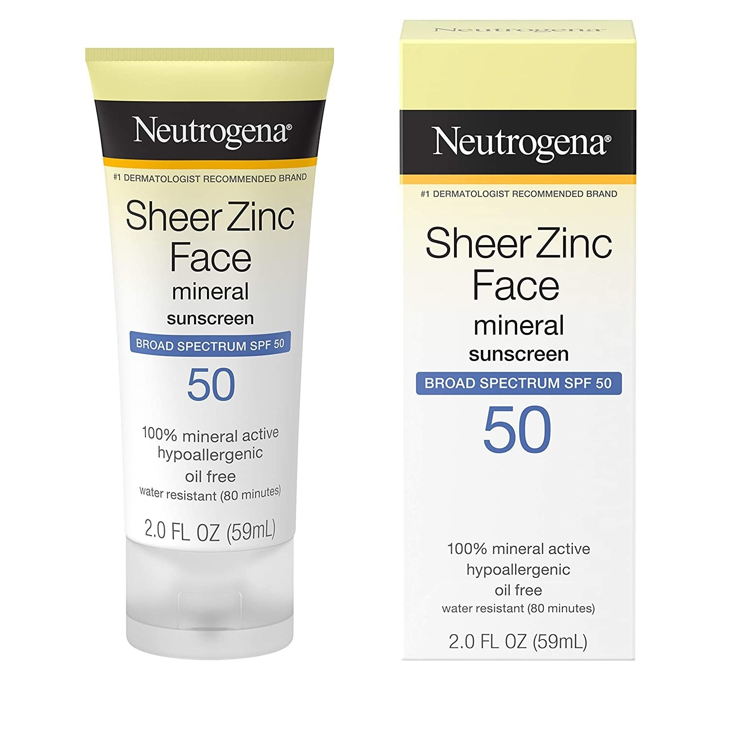 the sunscreen in its tube, next to the product packaging