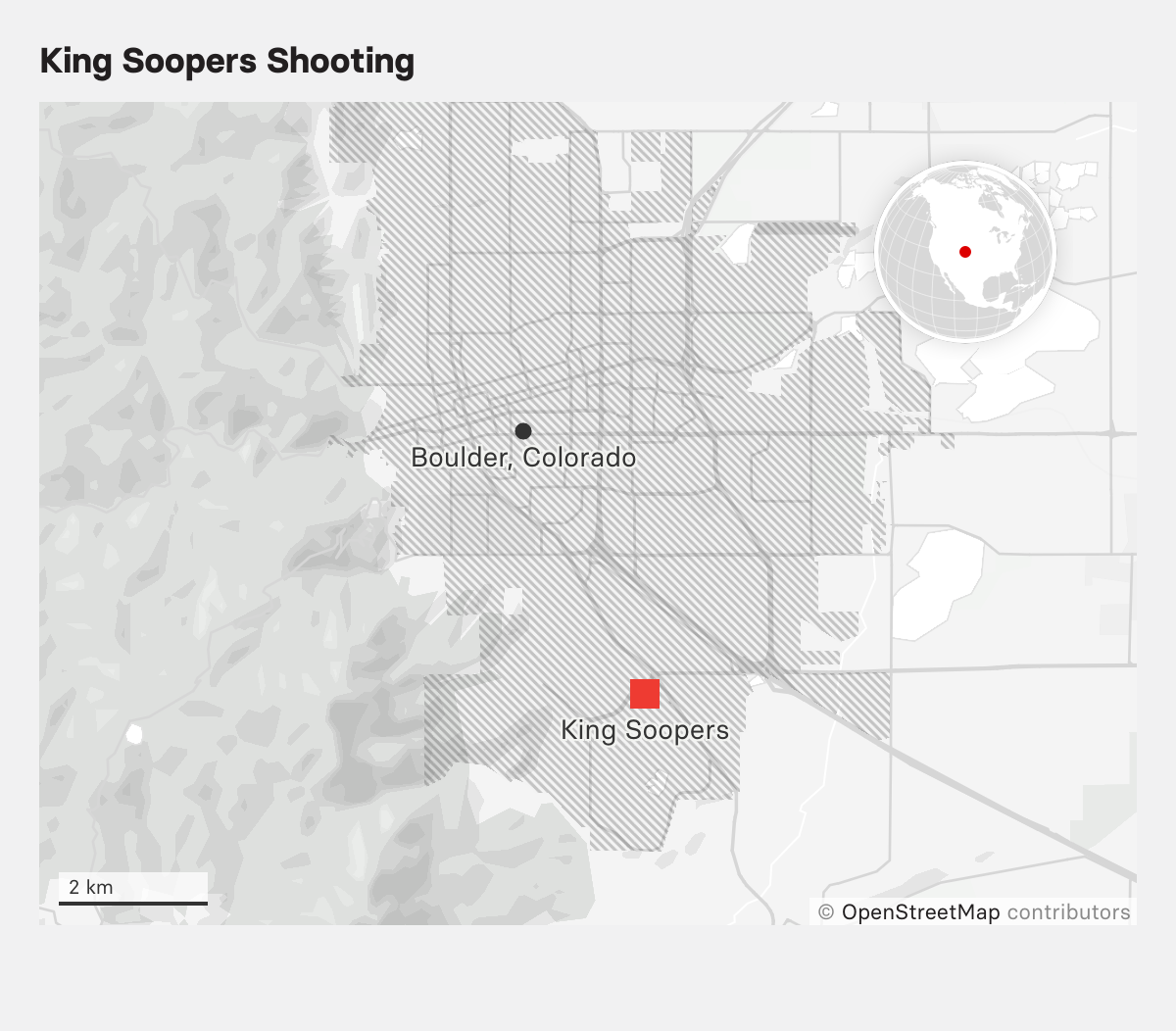 A map shows the location of King Soopers grocery store in the southeast section of the city of Boulder