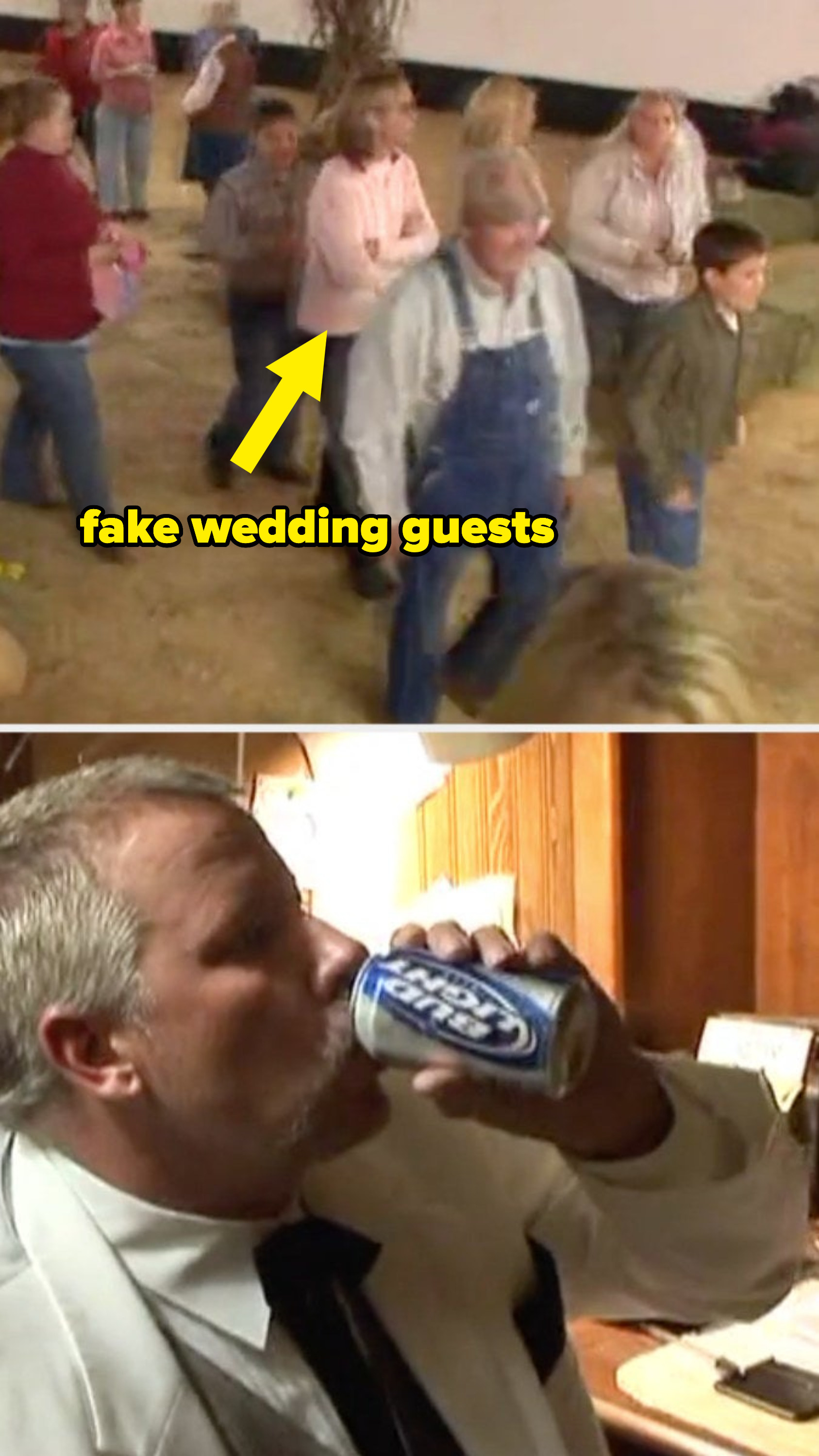 Fake wedding guests and the groom drinking a beer