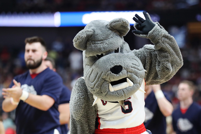 Gonzaga Bulldogs mascot waving hand.
