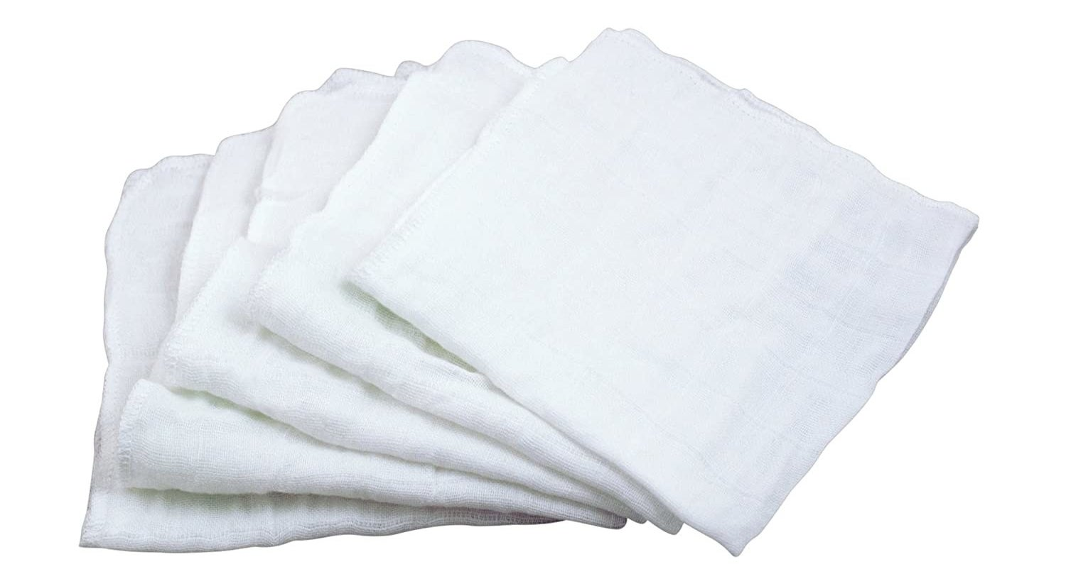 five muslin cloths in a stack