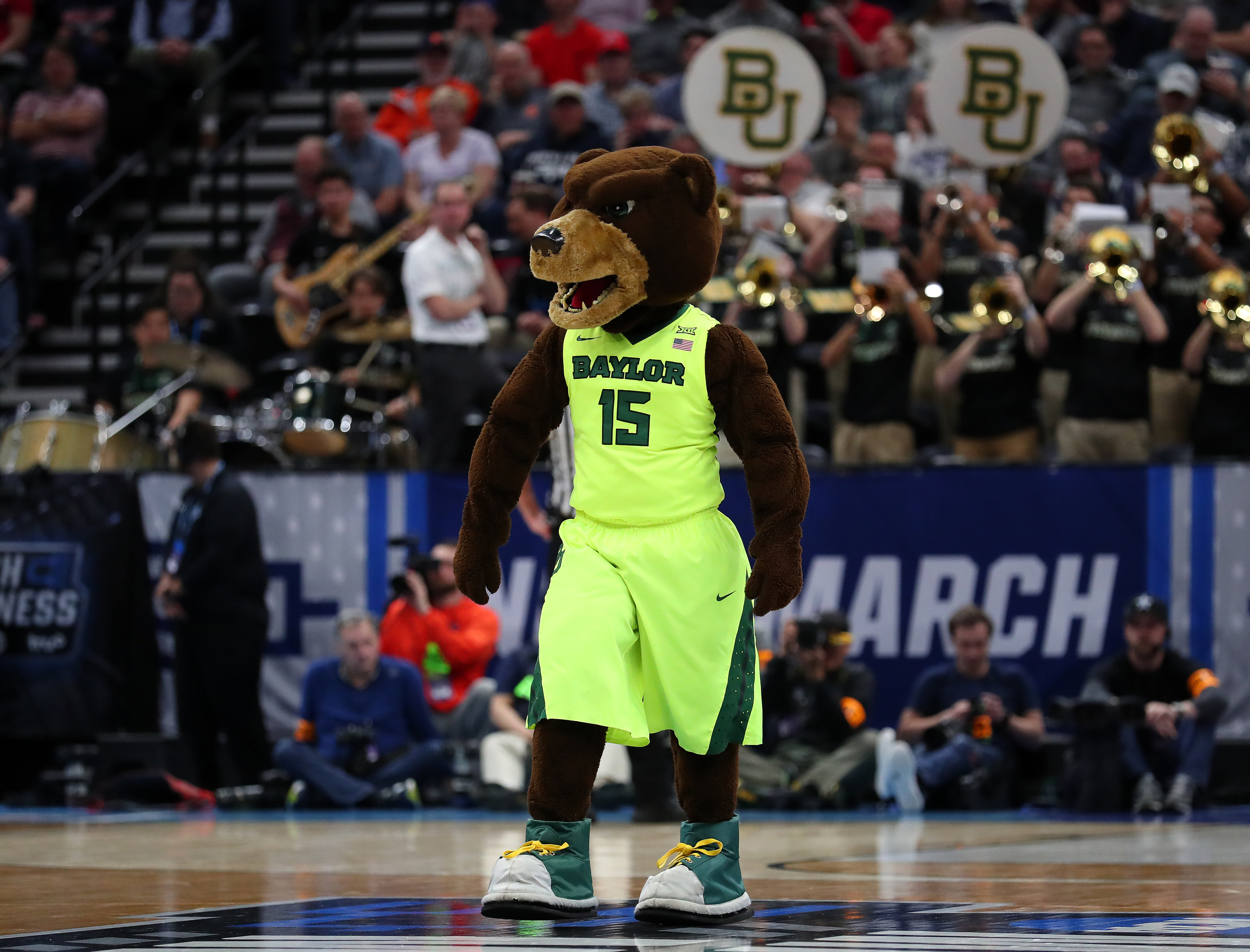 Baylor bear mascot on the court.