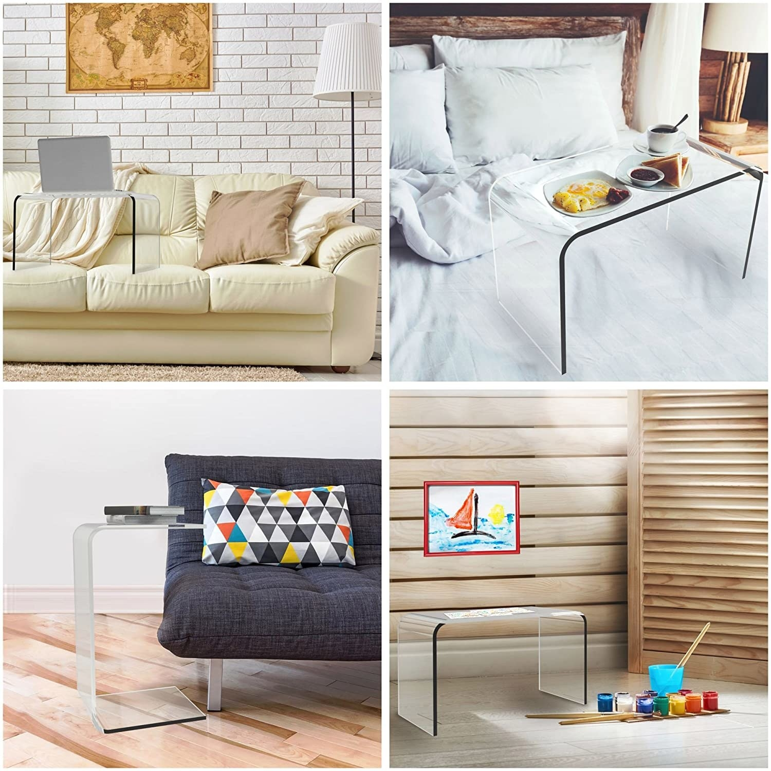 the table being used on a couch, on a bed, next to a couch, and in a playroom