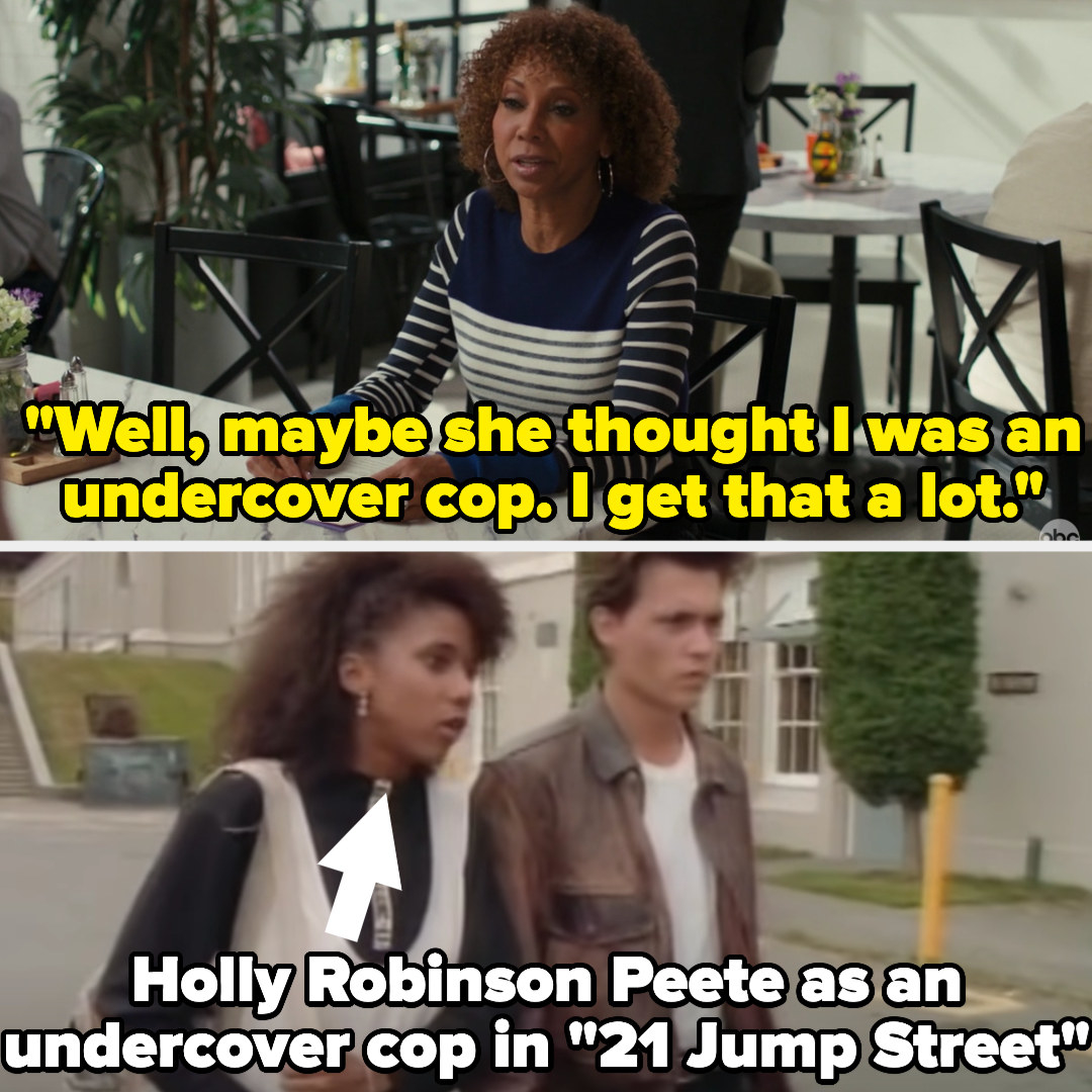 "On American Housewife, Tami says ""Well, maybe she thought I was an undercover cop. I get that a lot"" and then there's a photo of the actress as an undercover cop on 21 Jump Street"