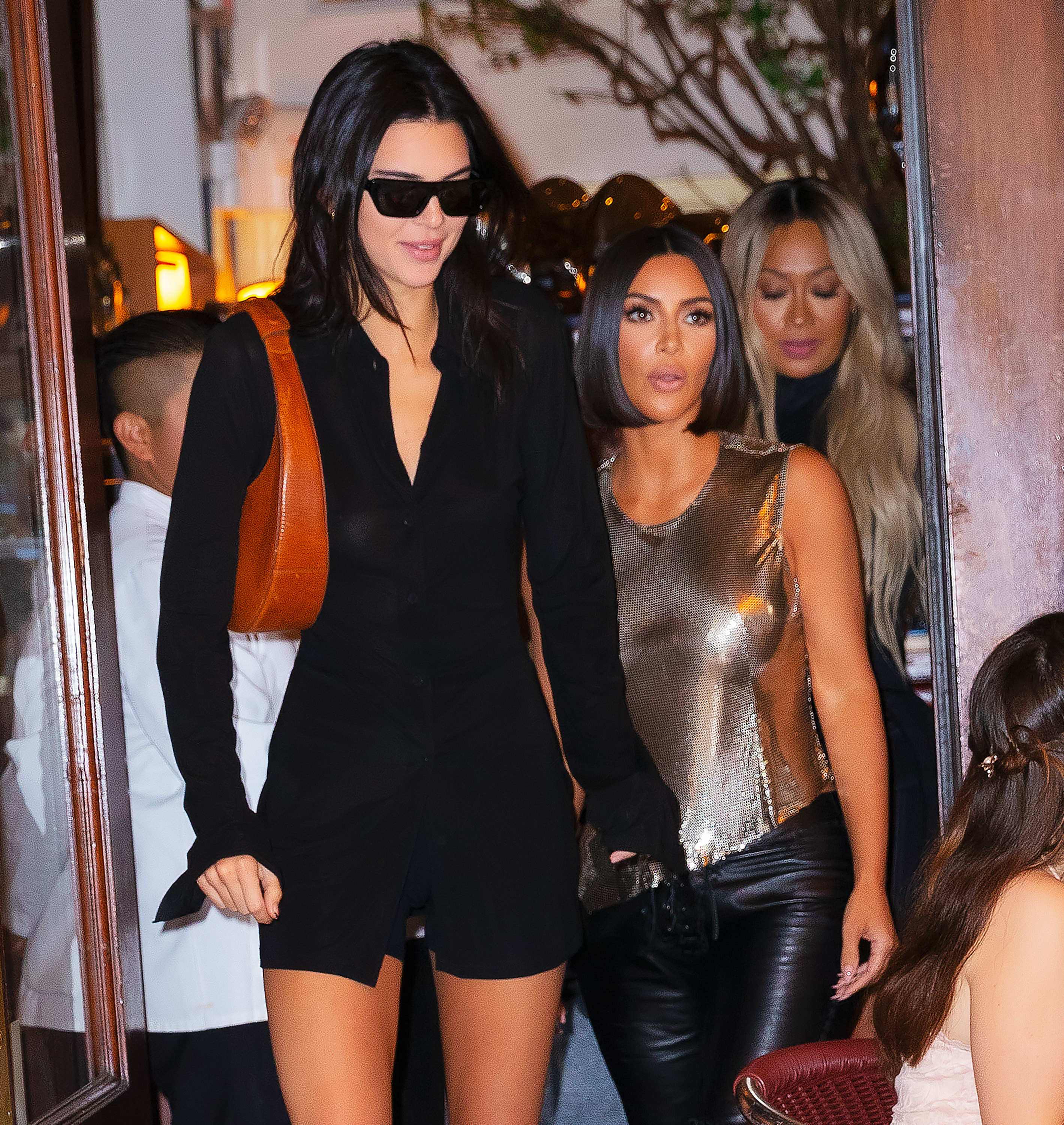 Kendall and Kim exiting a restaurant together in September 2019
