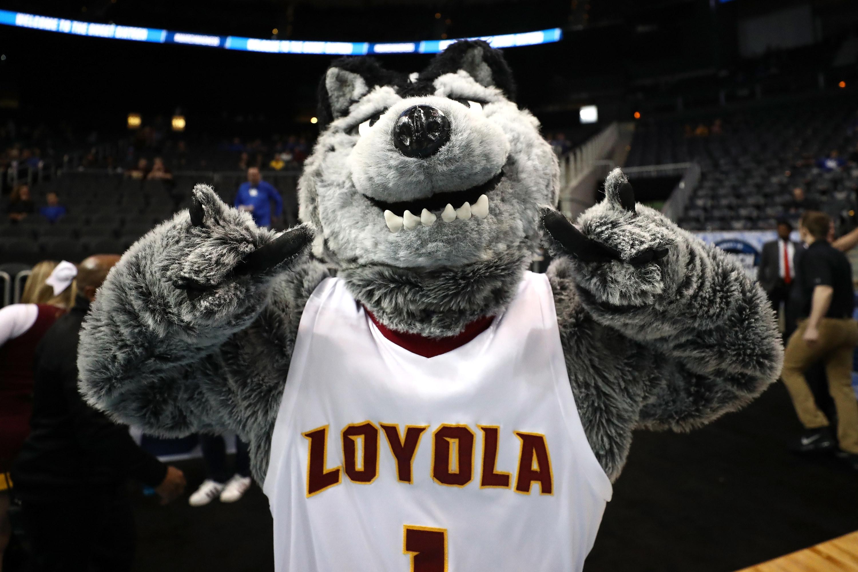 Loyola mascot smiling for camera.