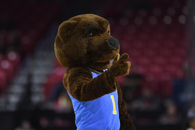 UCLA bear mascot pointing
