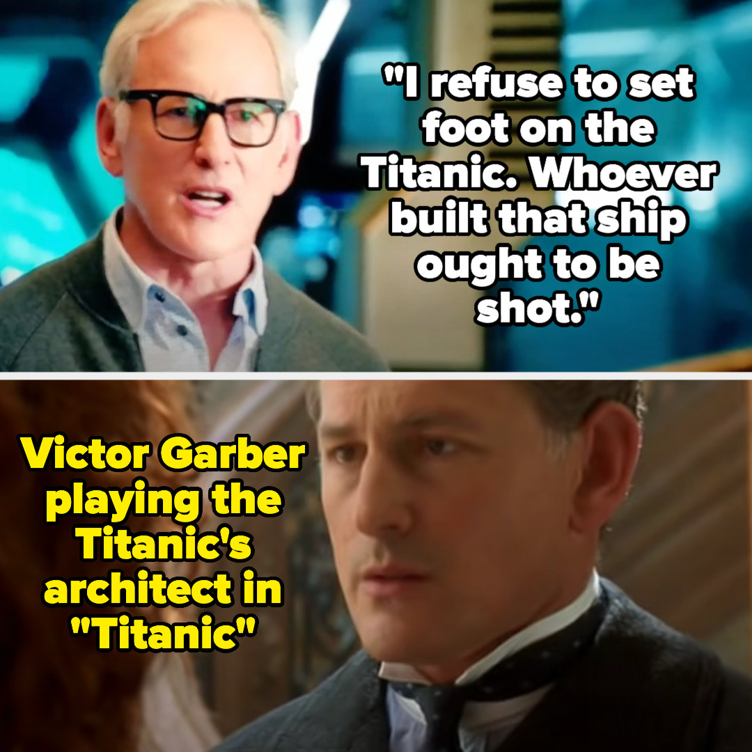 "Dr. Martin Stein (played by Victor Garber) says, ""Whoever built that ship ought to be shot"" on Legends of Tomorrow, and then there's a photo of Victor playing the Titanic's architect in Titanic"