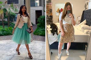A reviewer in a teal tulle skirt / a reviewer in a leopard print skirt
