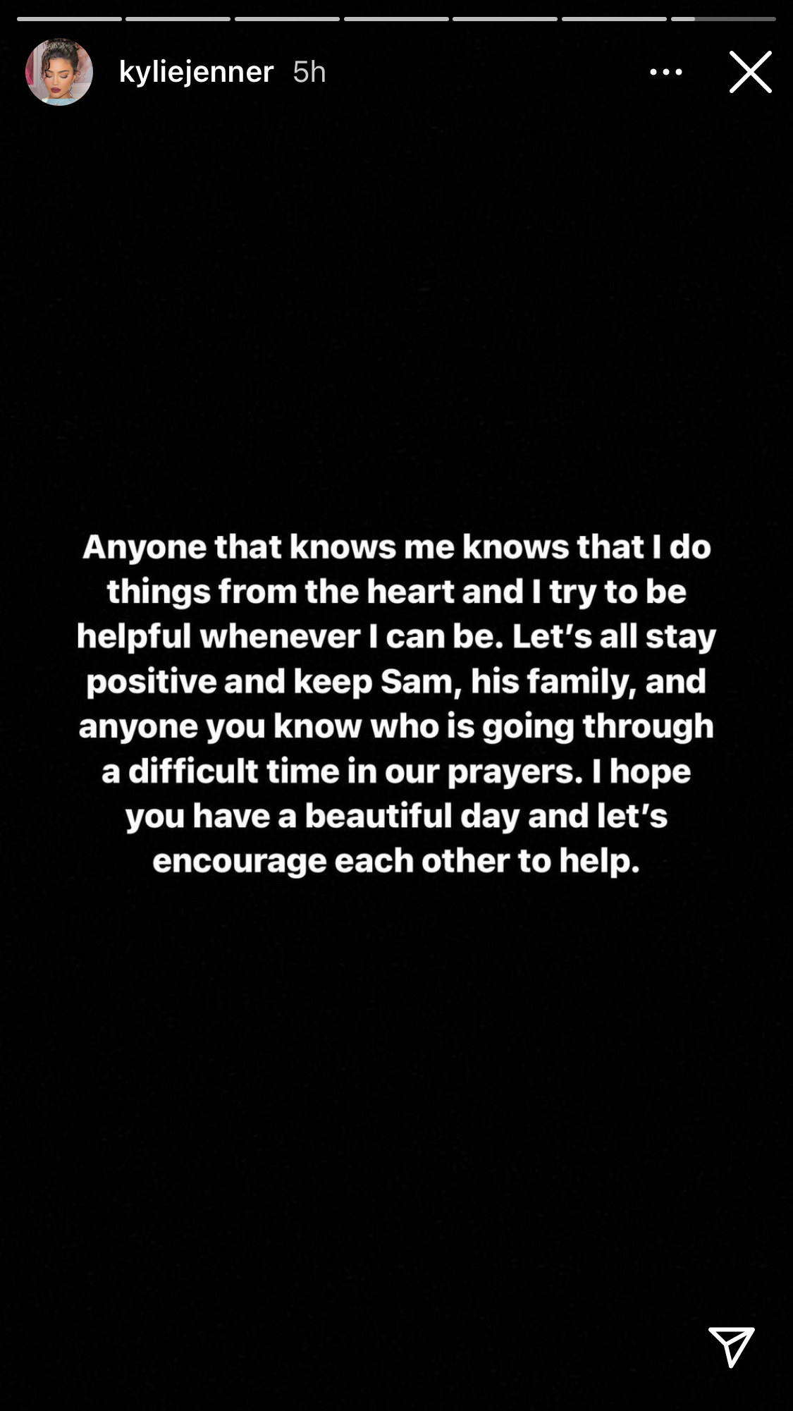 A screenshot of Kylie Jenner's Instagram Story further clarifying details surrounding when she shared Samuel Rauda's GoFundMe