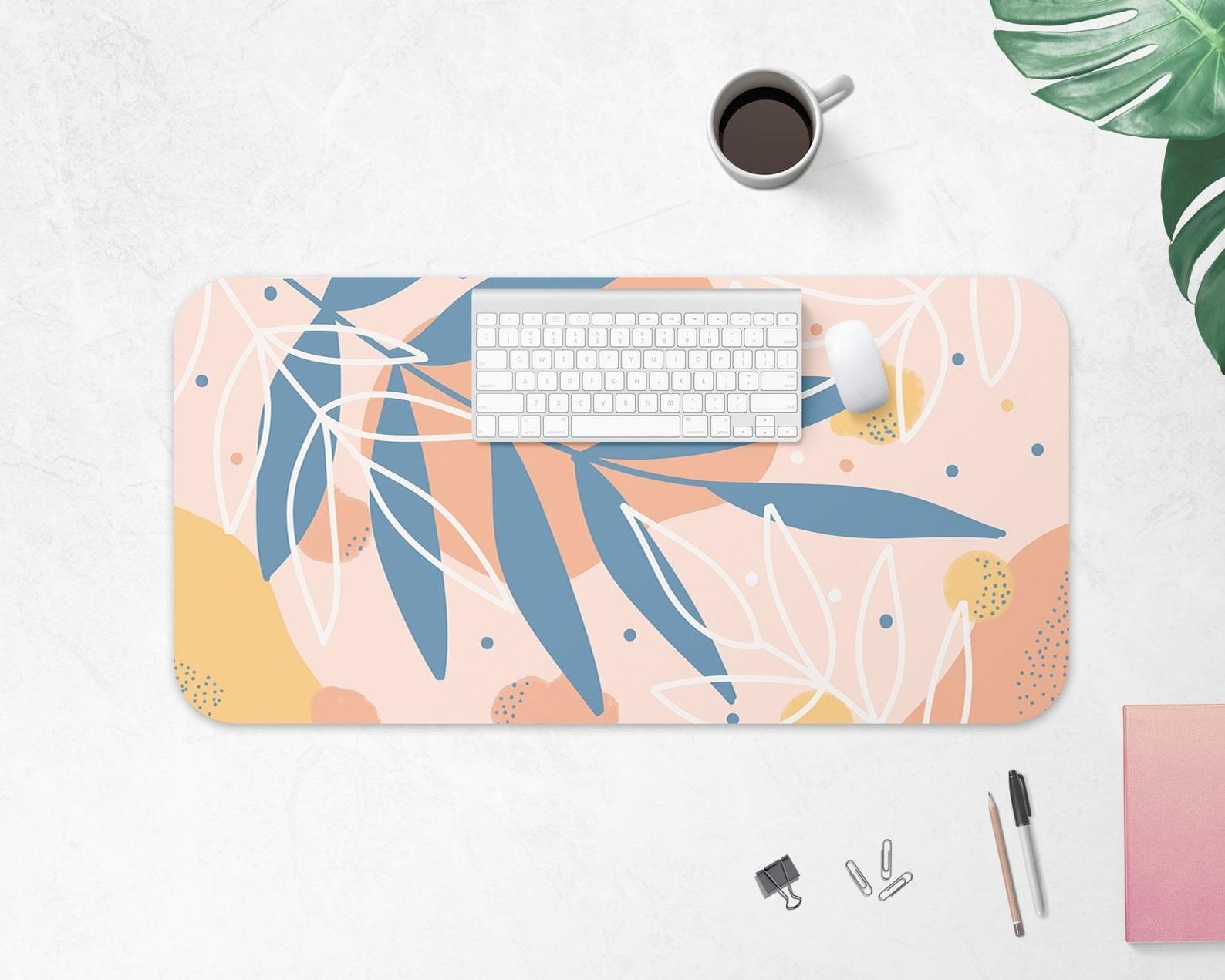 Floral desk mat placed on desk