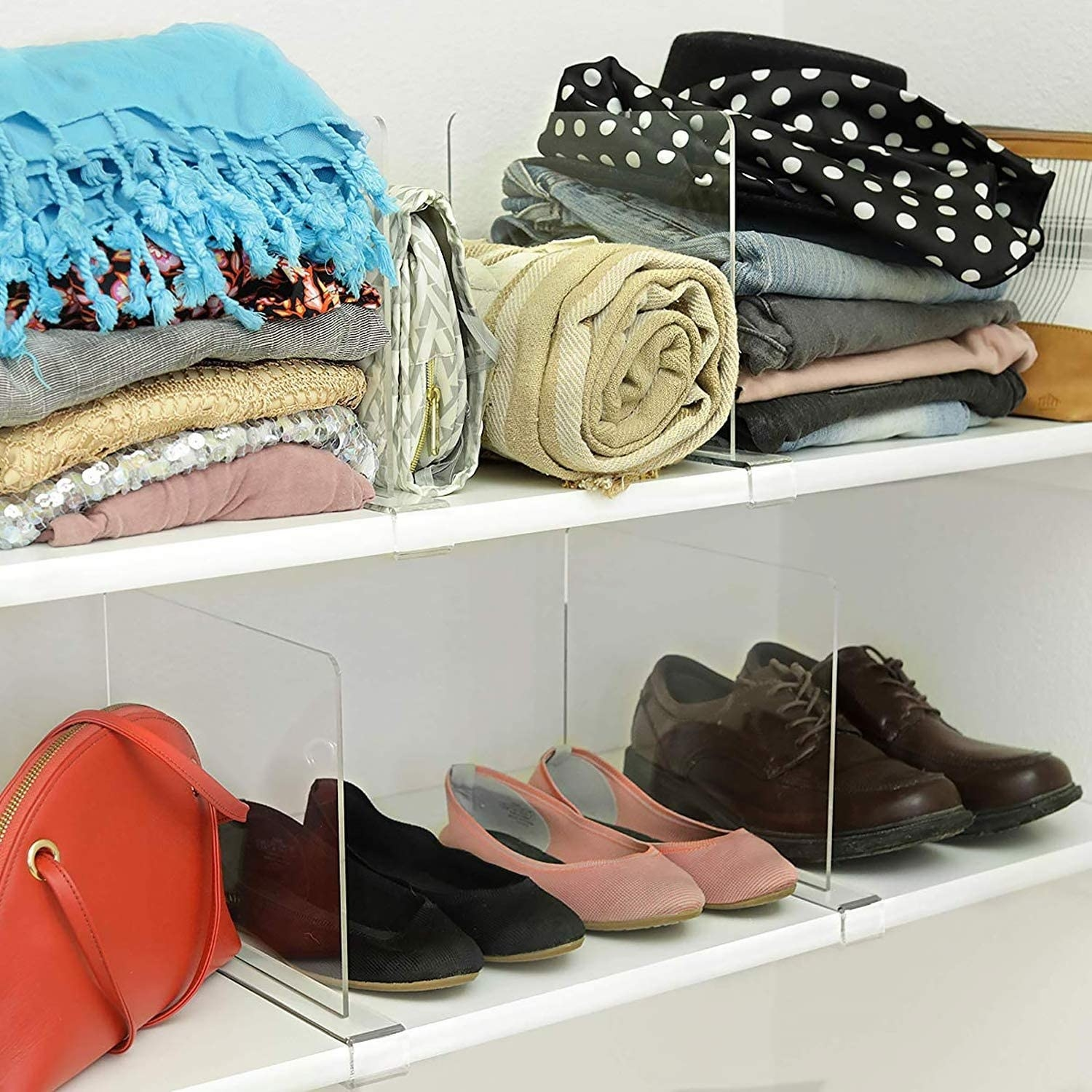 closet items separated by the dividers