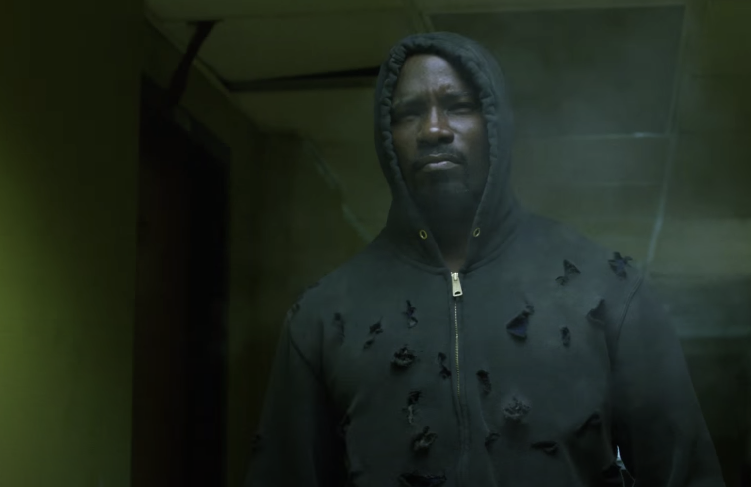 Mike Colter as Luke Cage, unharmed by bullets, on Luke Cage