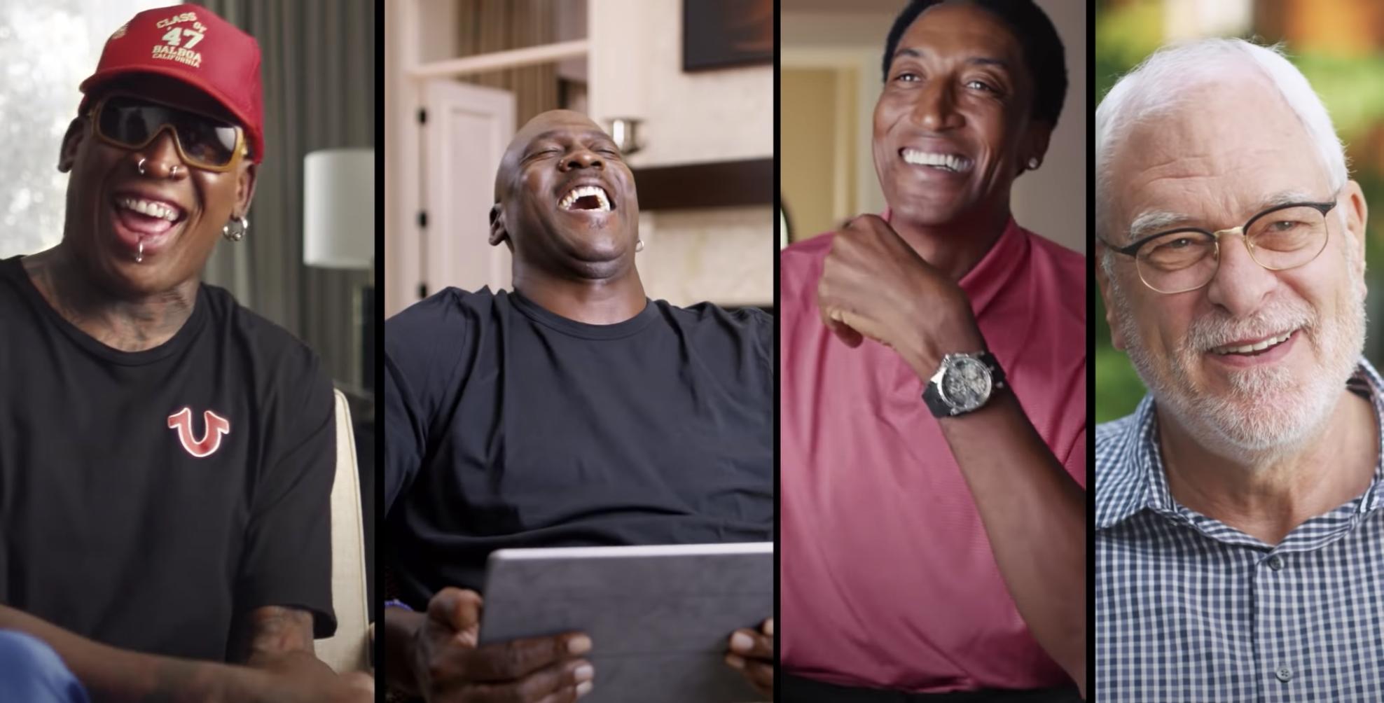 Dennis Rodman, Michael Jordan, Scotty Pippen, and Phil Jackson on The Last Dance
