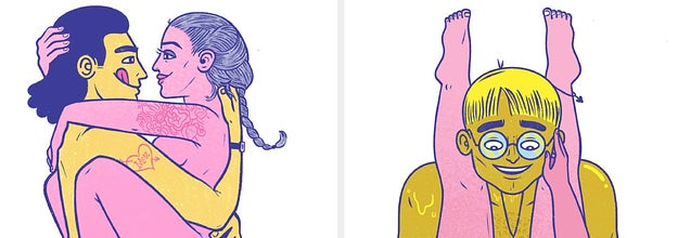 side-by-side illustrations of different sex positions