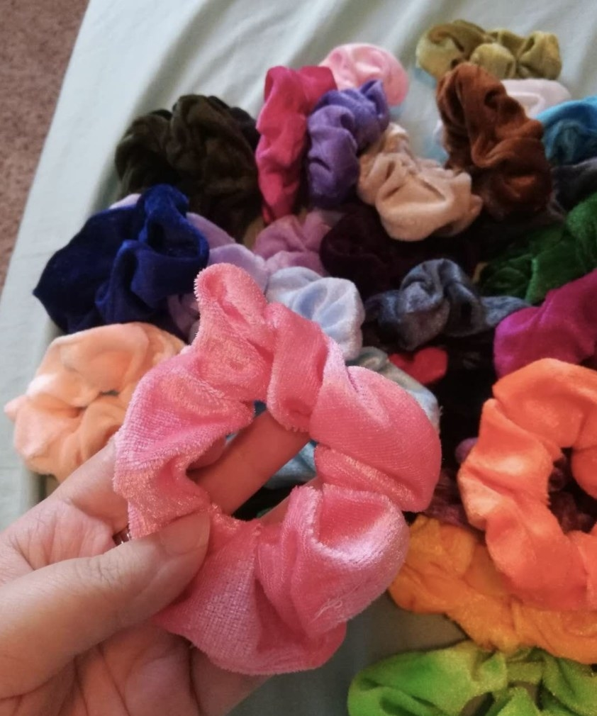 The scrunchies in multiple colors