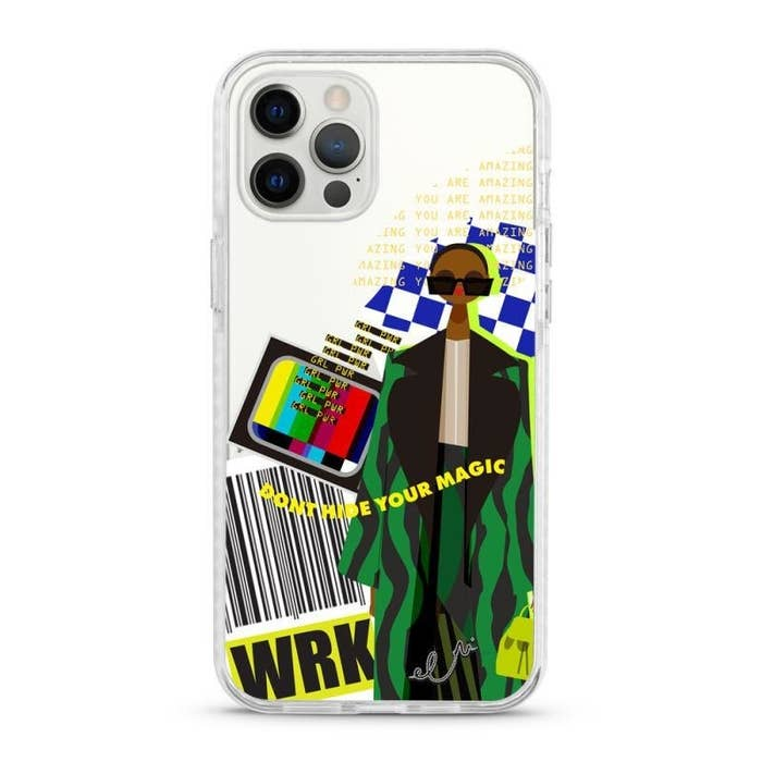 "a clear phone case with an illustration of a model on it, a bar code, a tv, the words ""grl power"" and ""don't hide your magic"""