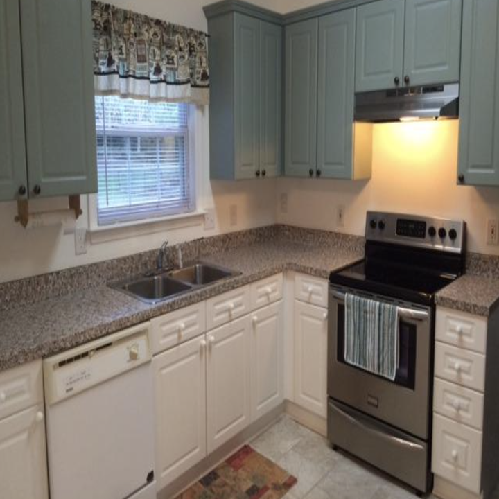 A customer review after picture of their kitchen counters