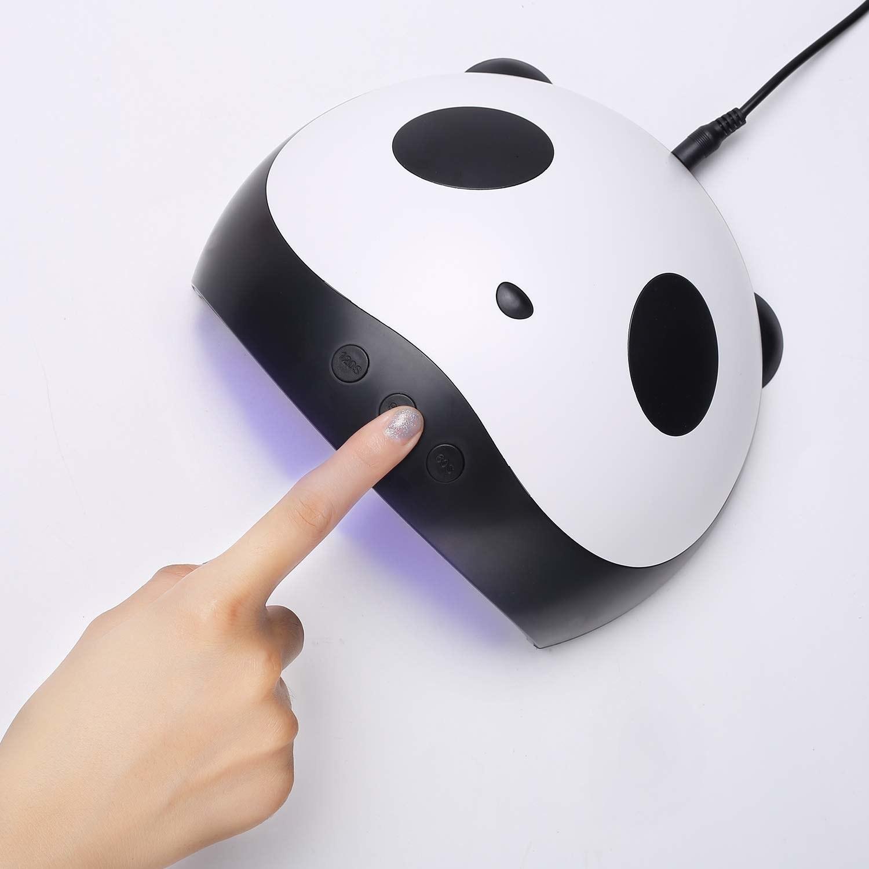 model pushes button on panda led light