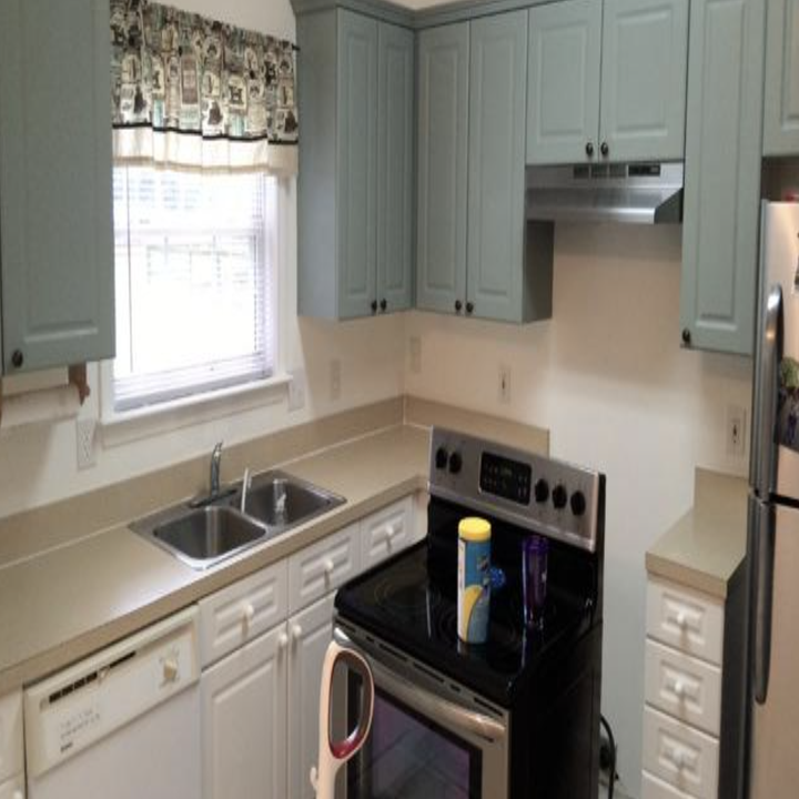A customer review before picture of their kitchen counters