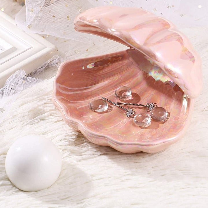 seashell with the pearl remove and jewelry inside