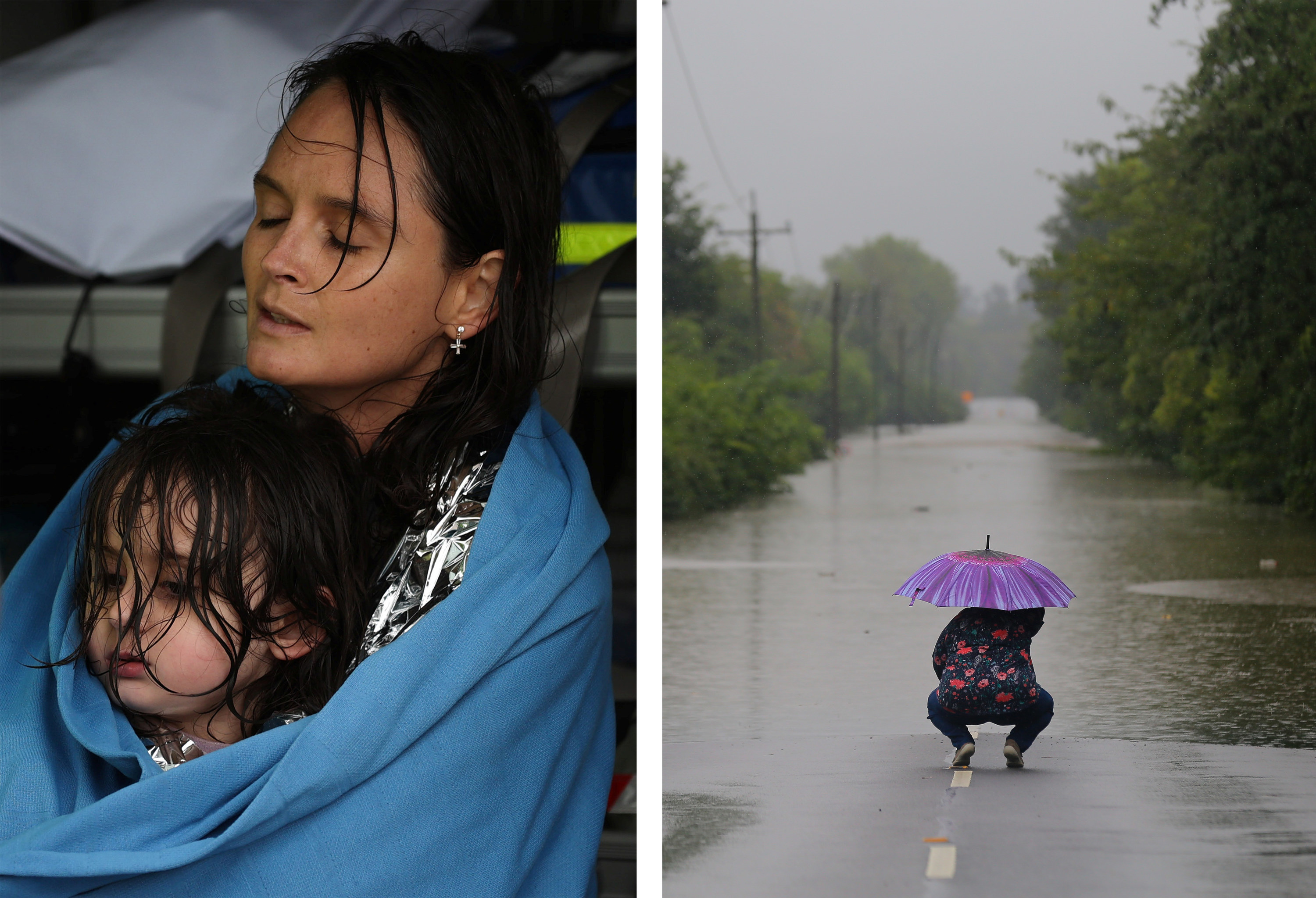 Left, a woman and child are wet and wrapped in a blanket, right a woman crouches down in front of flood waters at the end of a flooded road