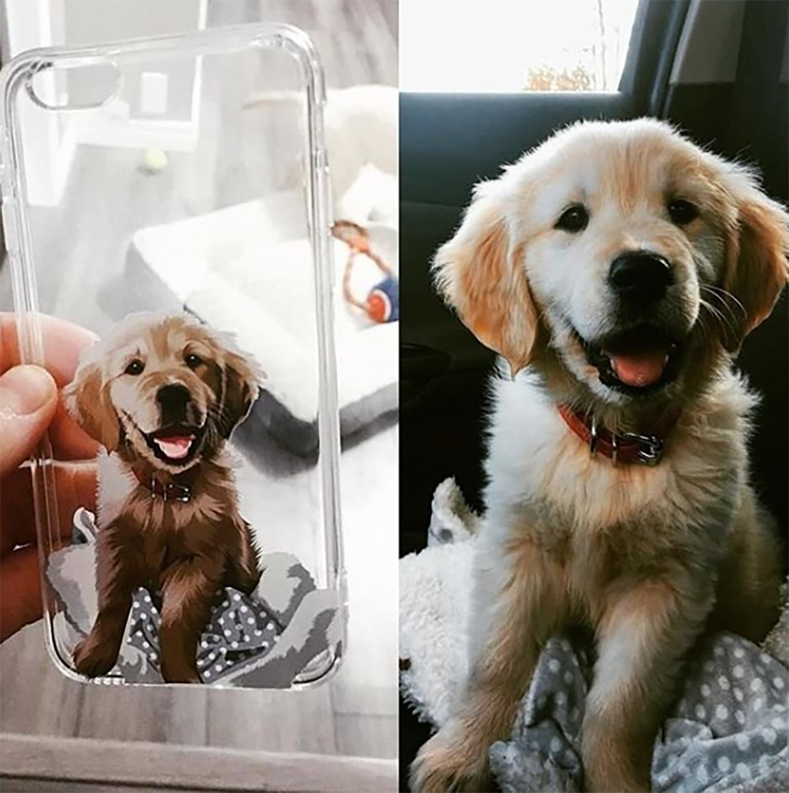 a phone case with an illustration of a golden puppy on it alongside the picture of the puppy