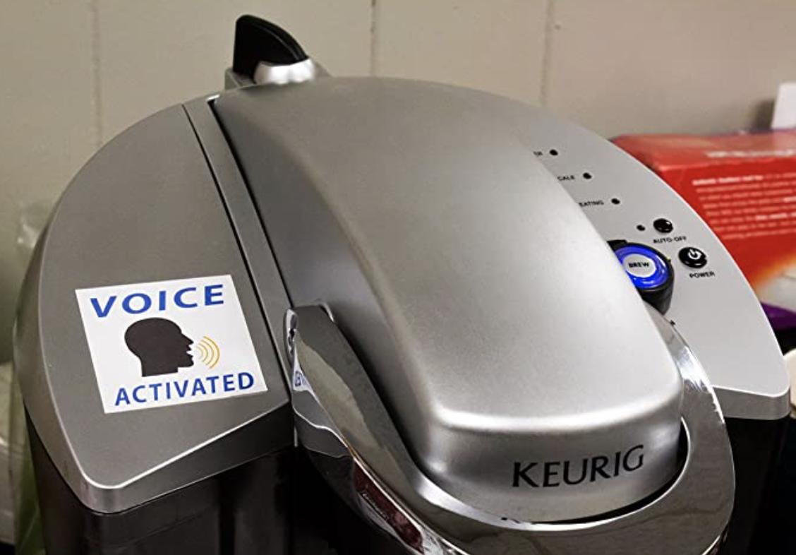 voice activated sticker on coffee machine