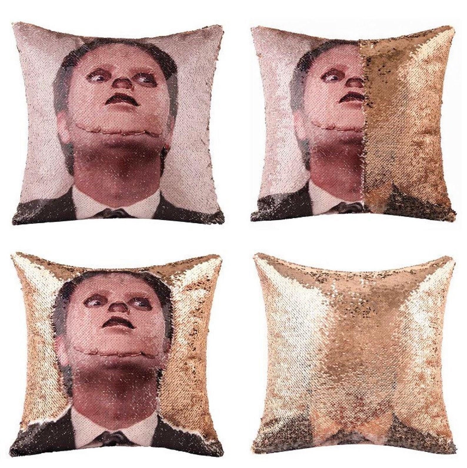 dwight schrute sequin pillow