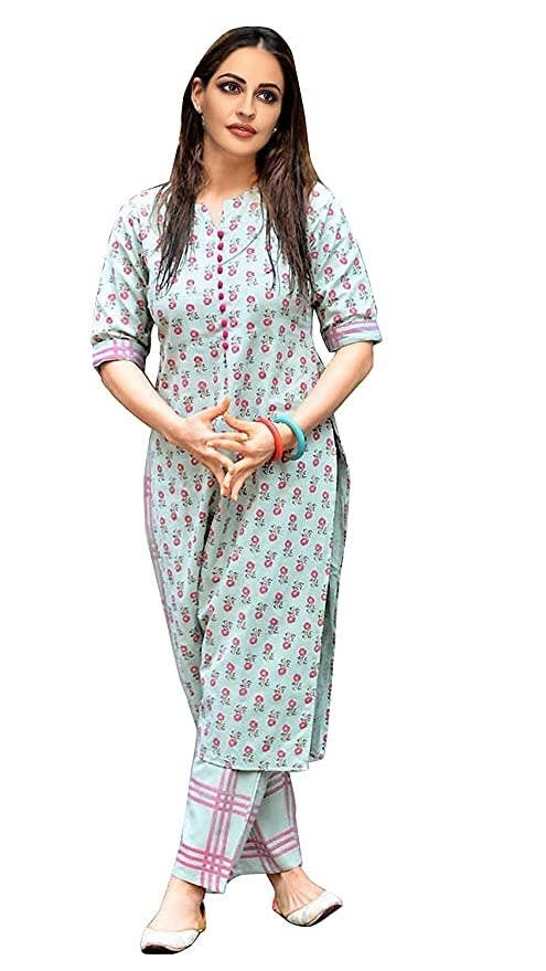 Blue floral kurta with checked pants.