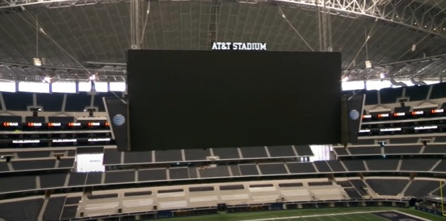 Jumbotron inside the Dallas Cowboys stadium