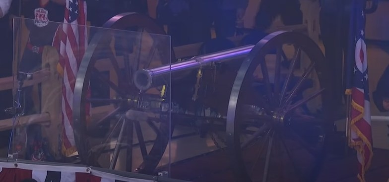 Cannon mounted in upper decks of Nationwide Arena.