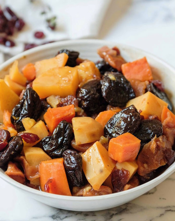 Tzimmes with sweet potato and prunes.
