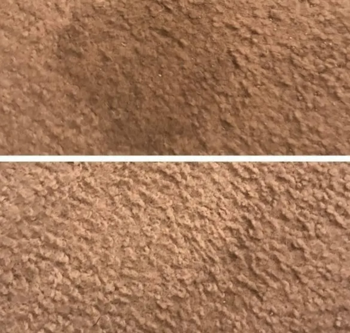 A before and after of a carpet stain