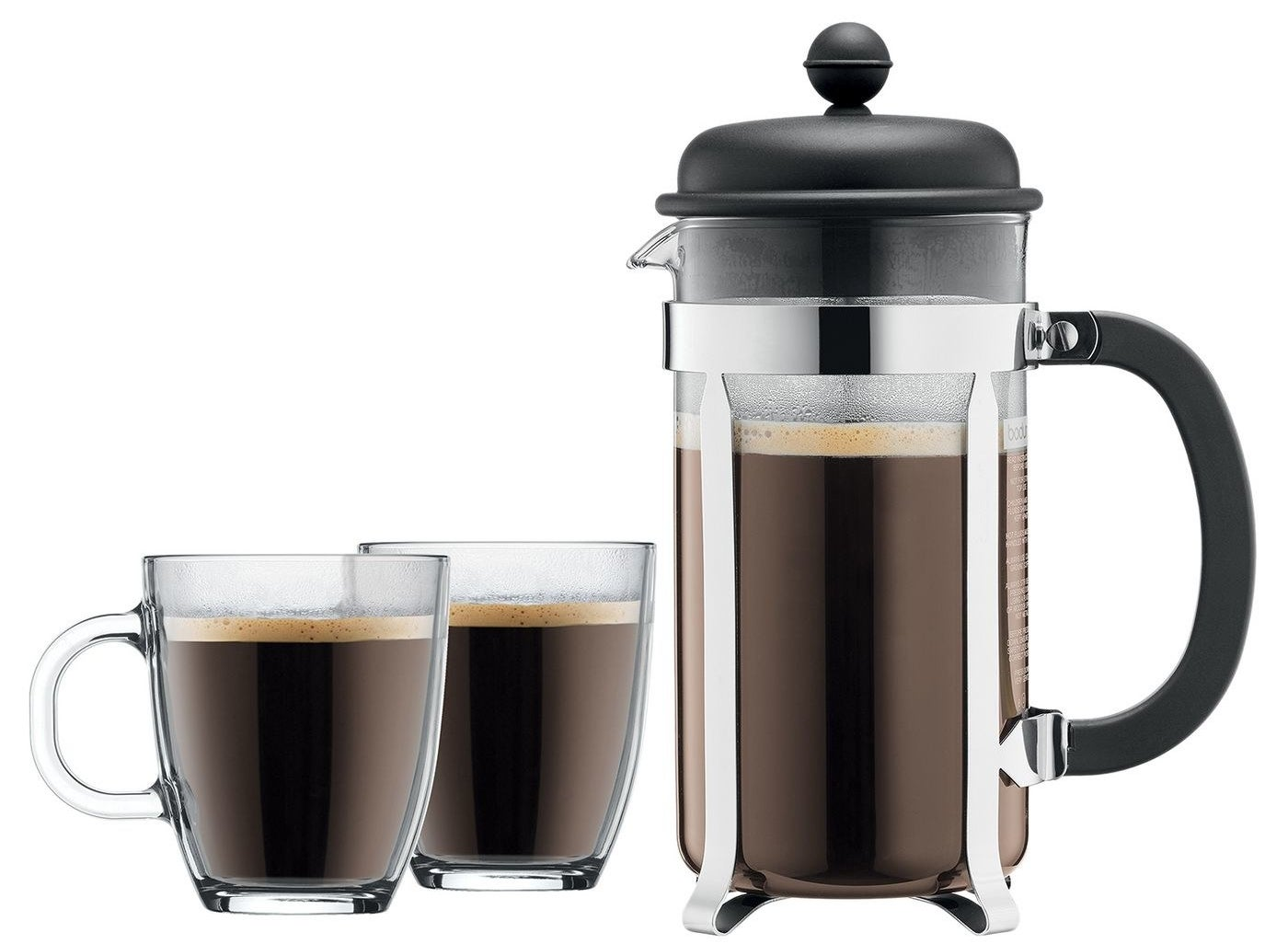 A French press coffee maker and two glass mugs