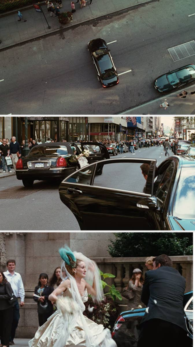 Carrie hits Big with a wedding bouquet in the middle of a street they are blocking with their parked cars