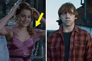hermione in her yule ball dress on the left and ron weasley standing in front of his home on the right