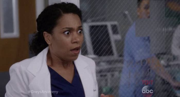 """A """"Grey's Anatomy"""" character looking shocked"""