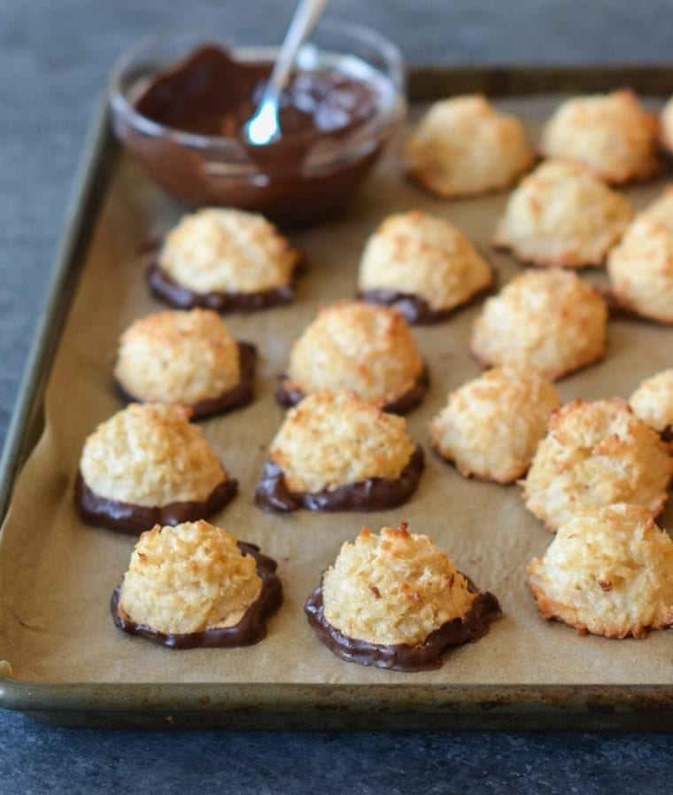 Chocolate dipped coconut macaroons.