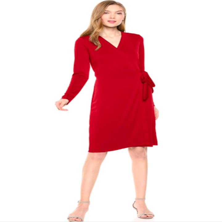 Model wearing the red long-sleeve wrap dress