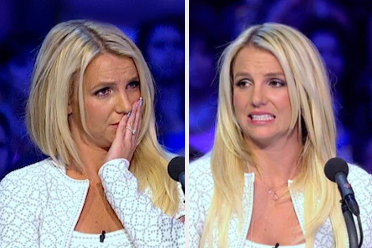 Britney Spears looking upset