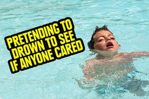 a kid pretending to drown in a pool to see if anyone cares