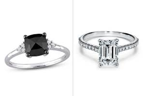 Engagement ring with a dark square diamond, and engagement ring with an emerald-shaped diamond