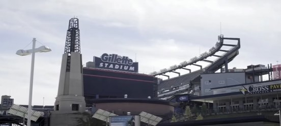 Lighthouse structure outside Gillette Stadium.