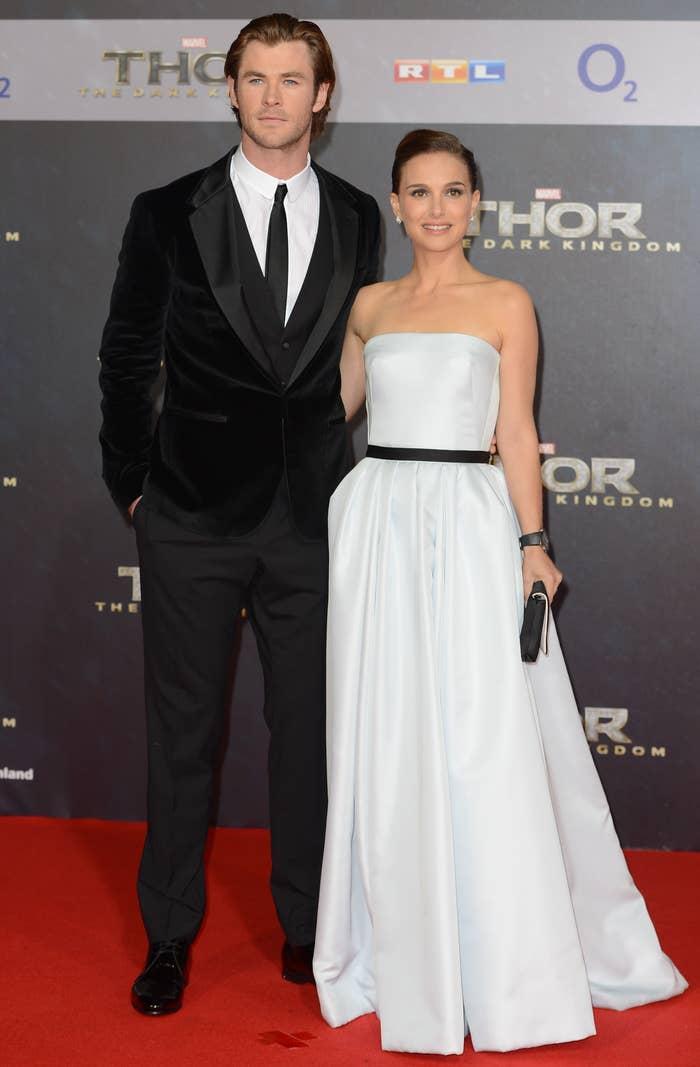 "Chris Hemsworth and Natalie Portman at the premiere of ""Thor: The Dark World"""