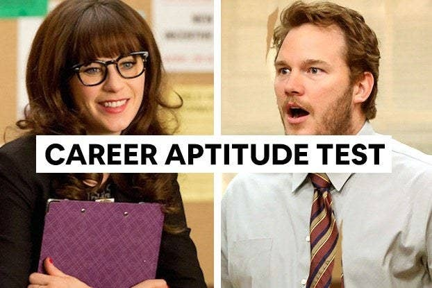 "Jessica from ""New Girl"" holding a clipboard and Andy from ""Parks and Recreation"" wearing a tie with the words ""Career Aptitude Test"""