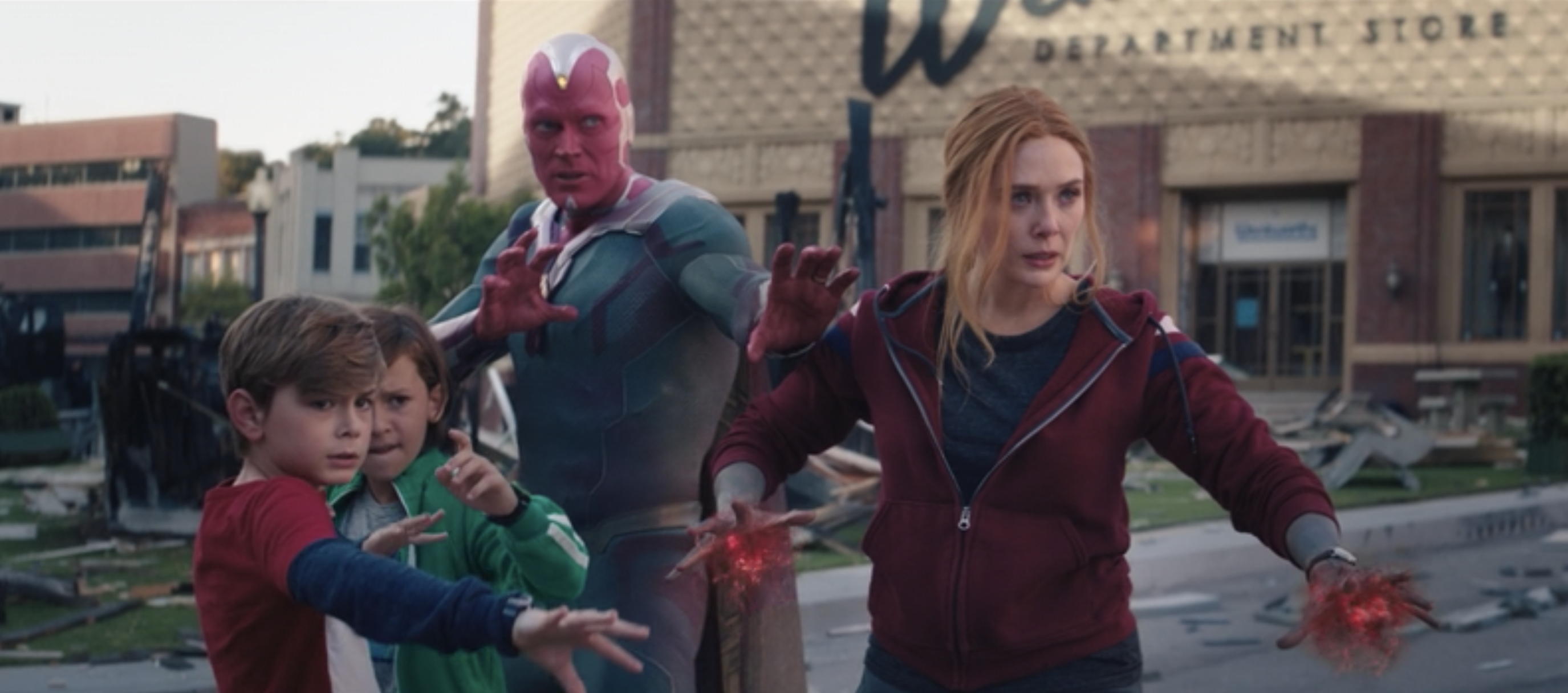 Wanda, Vision, Billy, and Tommy getting ready to fight
