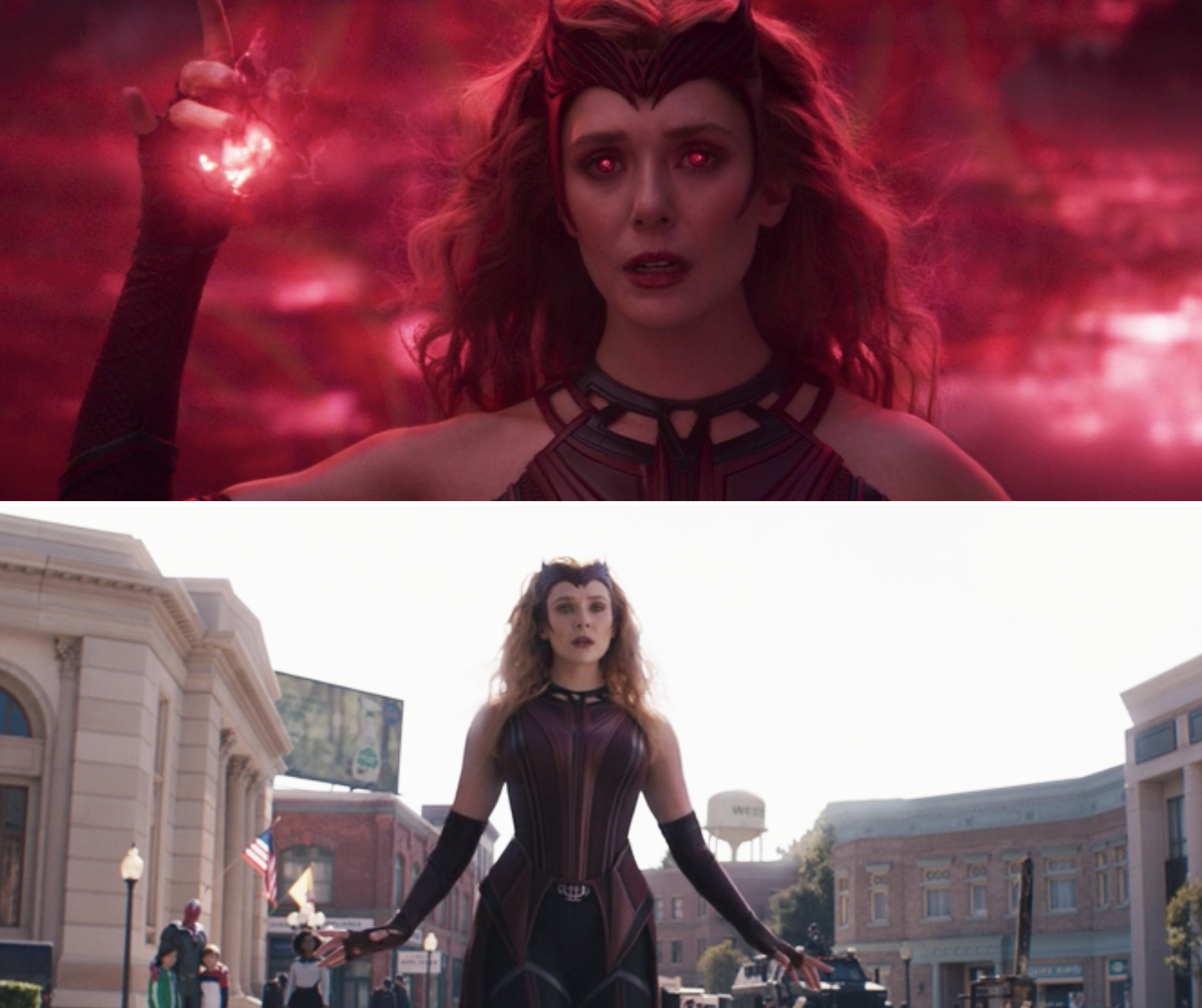 Wanda in her Scarlet Witch costume