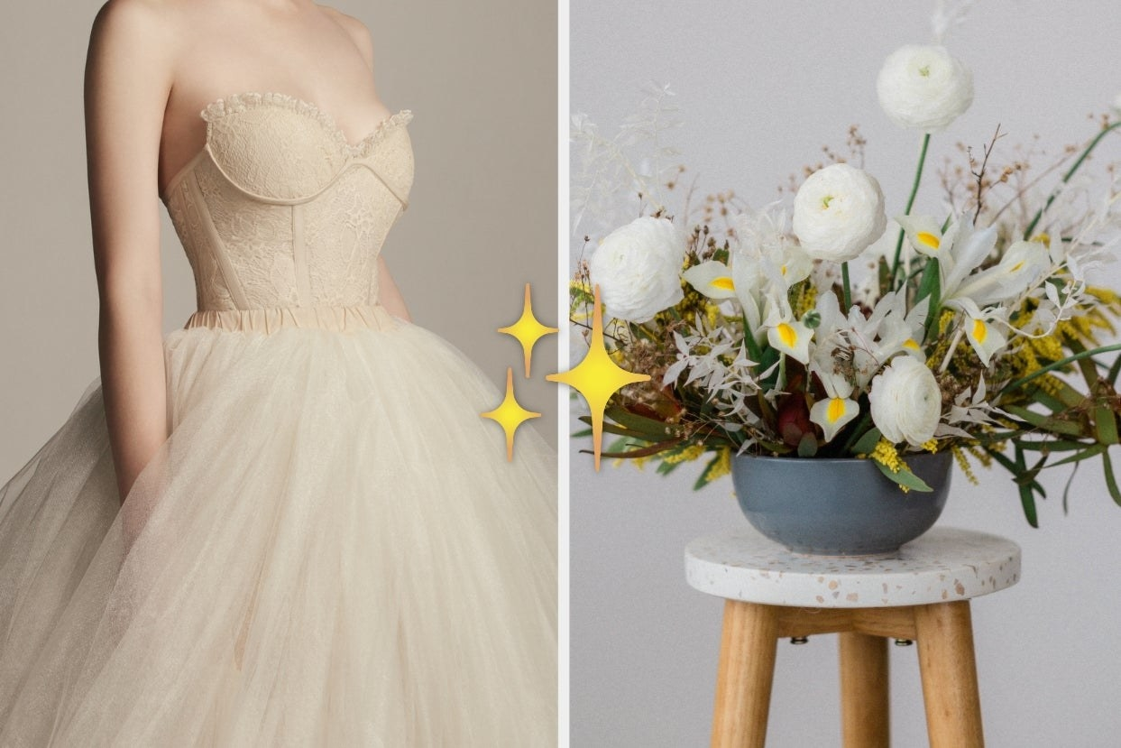 Wedding ballgown and floral arrangement