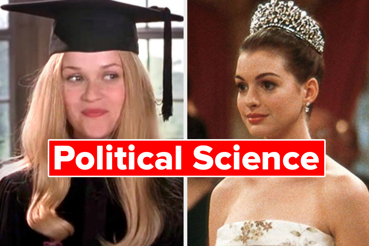"Elle Woods graduating and Mia Thermopolis wearing her crown with the words ""Political Science"""